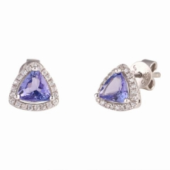 Trangle tanzanite saplamalı küpeler