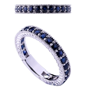 Sapphire Silver Band Ring