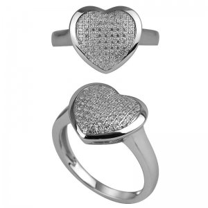 Heart Shape Micro Pave Ring
