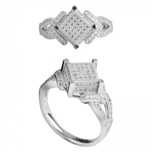 Micro Pave Setting Silver Ring Manufacturer