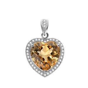 Citrine Heart Shape Pendant