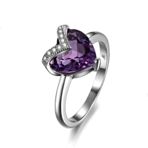 Natural  Heart Purple Amethyst Birthstone Ring