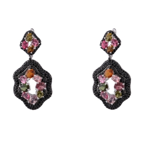 Multi Color Tourmaline Earring